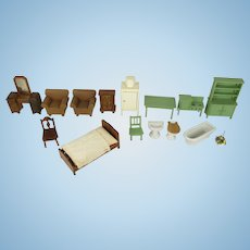 Vintage American and German made Miniature Doll Furniture