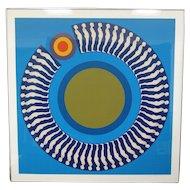 "Ernest Trova 8 Color Silkscreen / Serigraph, titled ""Study/Falling Man"", Signed and Framed"