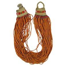 India Naga Orange Glass Trade Bead Necklace and 1963 India Coin Clasp