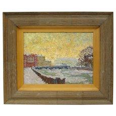 "Aleksander Titovets Painting, 1996 Oil on Canvas ""Winter, St. Petersburg"""
