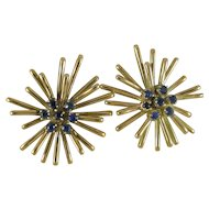 Vintage Starburst Earrings 14K Yellow Gold 14 Sapphires 11.6g