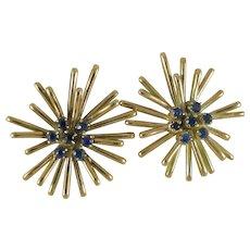 Vintage Starburst Earrings 14K Yellow Gold 14 Sapphires 11.6g