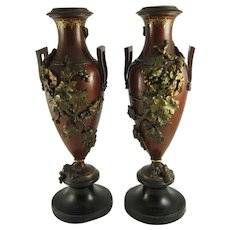Pair of Antique French Gilded and Painted Bronze Urns with Grapes, Vines, and Leaves