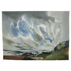 """Laurence Sisson Painting, Maine Seascape, Abstract Watercolor, Titled """"Just Walking"""", 21-3/4 x 29-3/4 inches"""