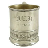 Antique Whiting Co. Sterling Silver, Gold Wash Baby Cup, Engraved 1876