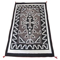 Navajo Two Grey Hills Rug/ Weaving, Geometric, White, Brown, Black, and Red, 60 x 35-1/2 inches