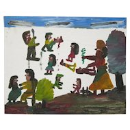 Clementine Hunter Signed Folk Art Painting