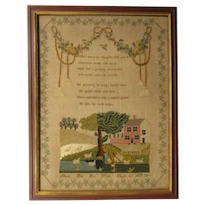 Antique 1817 Framed Pictorial Sampler by Mary Hall Age 10, with a Verse, Animals, Figures, and a House