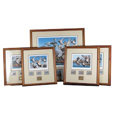 Set of 5 Robert Steiner 1981-2006 25th Anniversary Duck Stamp Prints, Signed and Framed