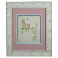"Johnny Gruelle Raggedy Ann Original Illustration from ""Raggedy Ann's Alphabet Book"", Page ""E -F"""