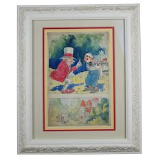 Vintage Johnny Gruelle Raggedy Ann and Andy Original Illustration, Framed