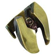Bjorn Weckstrom Lapponia Bronze Sculptural Ring, Finland, Vintage circa 1970's