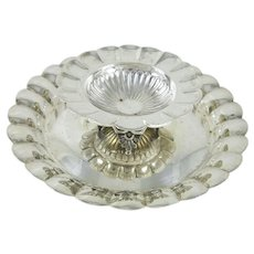 Sanborns Mexican Sterling Silver 2 Tier Shrimp and Sauce Dish Footed, Scalloped Edge, 541 grams