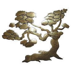 Vintage Mid Century Modern Brass Bonsai Tree Wall Art Sculpture, 51 inches Tall and 51 inches Wide