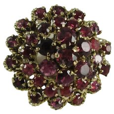 Thai Princess Crown Ring 14K Yellow Gold with 35 Natural Rubies, 7.6 grams, Size 6 3/4