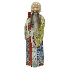 Vintage Chinese Shou Lao Famille Rose Porcelain Immortal Figure of Longevity