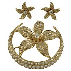 Vintage 14K Yellow Gold, Diamond and Pearl Brooch and Earring Set