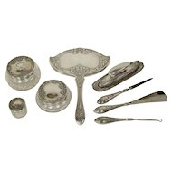 Vintage Art Nouveau 8 Piece Dresser/Vanity Set, Sterling Silver, Marked F&B, Foster & Bailey, No Monogram, circa 1880