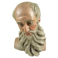 Spanish Colonial Hand Carved Santo / Bulto Head Polychrome Wood and Gesso of a Bald Man / Saint