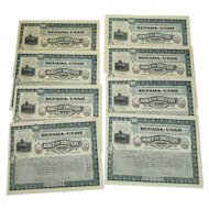 Lot of 8 Stock Certificates Nevada-Utah Mines and Smelters Corporation 1907