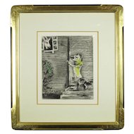 """Marc Chagall Etching """"Les Fables De Fontaine"""" Volume 1, """"The Wolf, The Goat, and the Kid"""