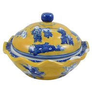 Chinese Blue, Yellow and White Porcelain Bowl and Lid