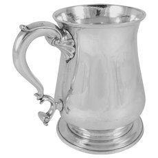 Antique Thomas Whipham, London, Sterling Silver Tankard / Mug, George II, 1747, Monogram on Handle Top