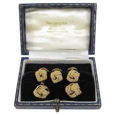 Henry George Murphy 18K Yellow Gold and Sapphire Cufflinks and Studs, London, 1931