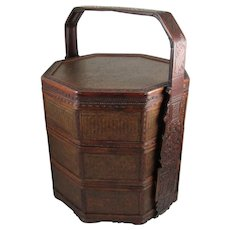 Vintage Octagonal Chinese Tiffin, Stacking Wedding Basket, Meal / Lunch Box, Wood and Woven Reed