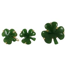 Ring and Earrings Set of Green Jade and 14K Yellow Gold Shamrock