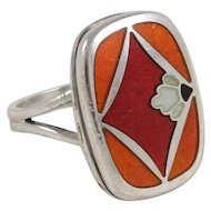 Vintage Georg Jensen Naja Salto Design Model 602 Sterling Silver and Enamel Ring, Finger Size 6-1/2 , 8 grams