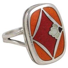 Vintage Georg Jensen Naja Salto Design Model 602 Sterling Silver and Enamel Ring, Finger Size 6-1/2 , 8 grams