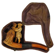 Meerschaum Tobacco Pipe Carved with a Woman and Man Dancing