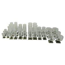 "Vintage Georg Jensen Designed Rosenthal Crystal Glass Set of 36 ""Berlin"" /""Linear Smoke"" Pattern Glasses"