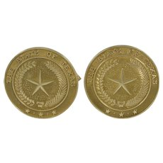 Yellow Gold Dolan Bullock Cufflinks with the State Seal of Texas