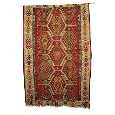 Vintage Turkish Anatolian Kiliam Woven Textile, Rug, Geometric Red, Orange and Yellow Pattern, 43 x 65 inches