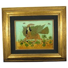 Antique Framed Persian Reverse Glass Painting of the Mythical Creature Lamassu