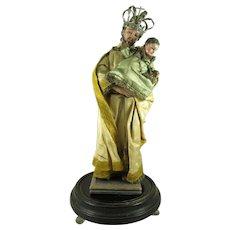 St. Joseph and Christ Child Santo / Bulto Figurine