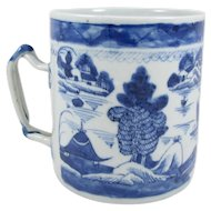 Antique Blue and White Chinese Canton Porcelain Mug, Export, 4-1/2 inch Tall, circa 1800-1850