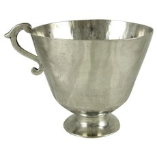 Antique Spanish Colonial Sterling Silver Cup with Applied Serpentine Handle, 184.8 grams