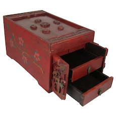 Chinese Carved Red Wood Writing / Storage Box with Drawers and Hidden Compartment