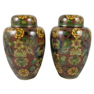 Pair of Chinese Covered Cloisonne Ginger Jars with a Floral Motif, 8 inches Tall