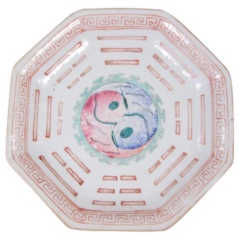 Chinese Taoist Yin Yang and Trigram Porcelain Footed Dish