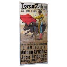 1954 Bullfight Advertisement Poster From Zafra, Spain