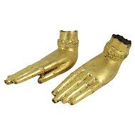 Pair of Thai Gilt Brass Buddha Hands