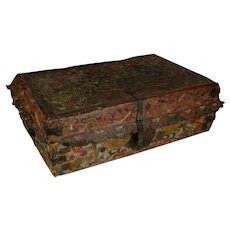 Spanish Colonial Hand Tooled, Embossed Leather Petaca (Document Box), Case, circa 1700-1750