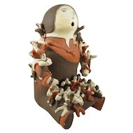 Loretta Joe Acoma Pueblo Pottery Storyteller Figurine, 33 Children, 7-1/2 inches Deep, 8-1/2 inches Wide, 11-1/2 inches Tall