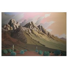 Signed Doug West Serigraph Screen Print, Organ Mountains Las Cruces, New Mexico 26 x 38-1/2 inches