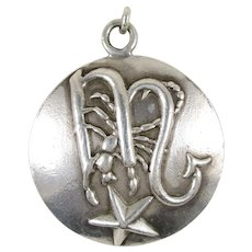 Vintage Margot De Taxco Sterling Silver Scorpio Pendant / Charm, Model Number 5281