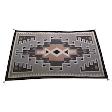 Navajo Handwoven Two Grey Hills Rug by Theresa Begay dating to circa 1960's-early 1970's, 39 x 64 inch